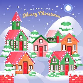 Ручной обращается рождественский город ночью
