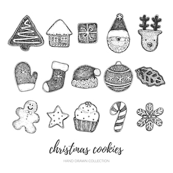 손으로 그린 크리스마스 쿠키