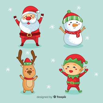 Hand drawn christmas cute character collection
