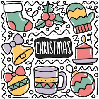 손으로 그린 크리스마스 낙서 아이콘 및 디자인 요소 설정