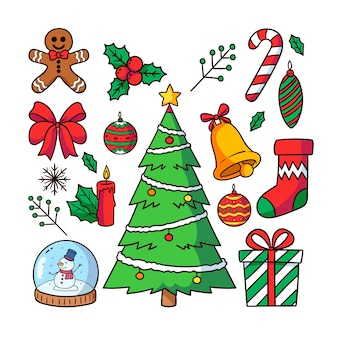 Hand drawn christmas decoration collection