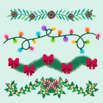 Collezione di decorazioni natalizie disegnate a mano