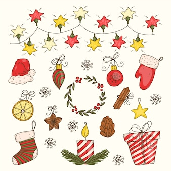 Hand drawn christmas decoration pack