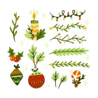 Set di decorazioni natalizie disegnate a mano