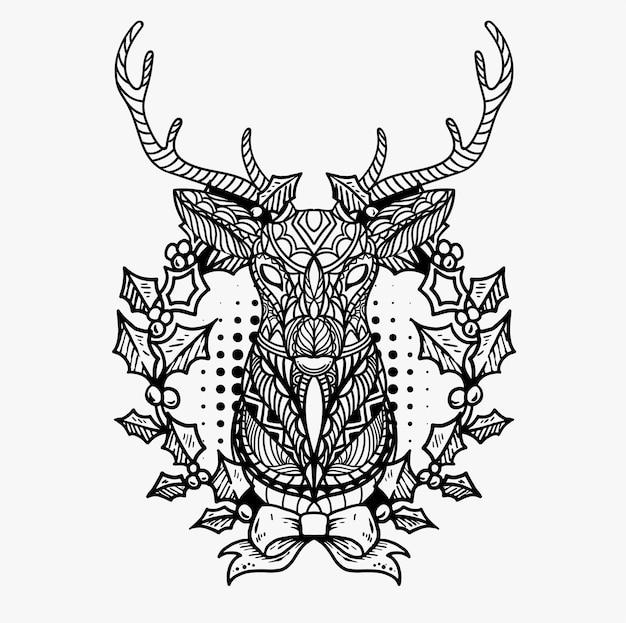 手描きのクリスマス鹿のイラスト