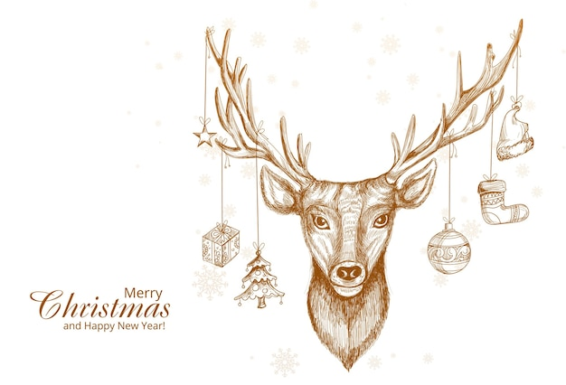 Hand drawn christmas deer sketch design