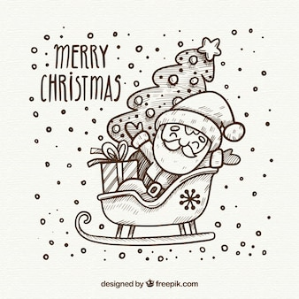 Hand drawn christmas design with santa in slede