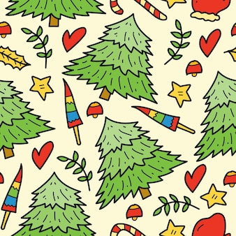 Hand drawn christmas doodle cartoon seamless pattern design