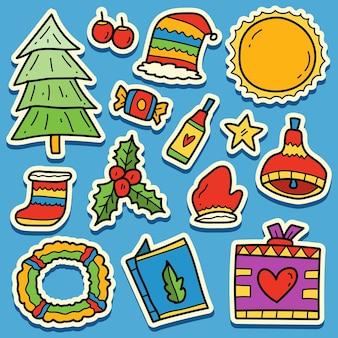 Ручной обращается рождественский каракули мультяшный дизайн наклейки