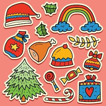 손으로 그린 크리스마스 낙서 만화 스티커 디자인