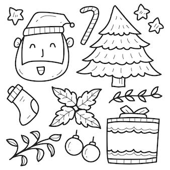 手描きのクリスマス落書きかわいい漫画のデザイン