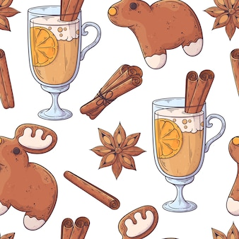 Hand drawn christmas drink pattern .