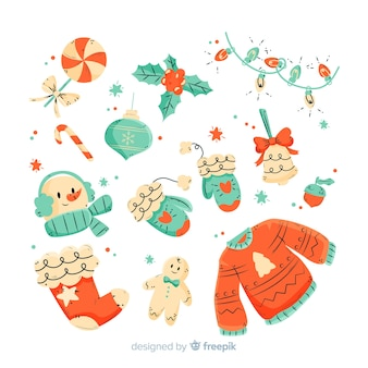 Hand drawn christmas element collection on white background