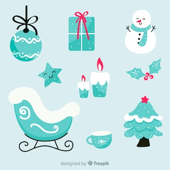 Hand drawn christmas element collection with snowman
