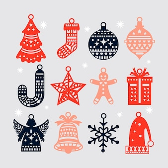 Hand drawn christmas element collection