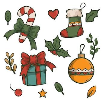 Коллекция рисованной рождественских элементов