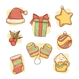 手描きのクリスマス要素コレクション