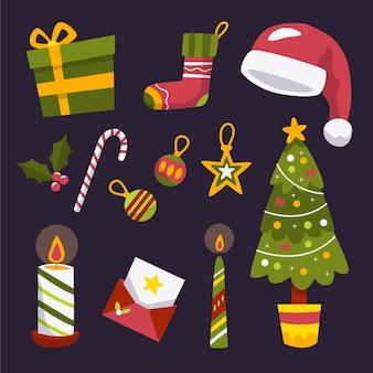손으로 그린 크리스마스 요소 컬렉션