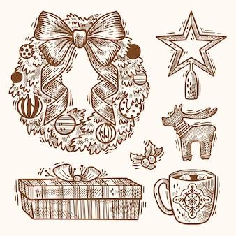 手描きクリスマス要素イラストセット