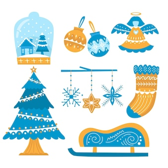 Hand drawn christmas element illustrations set