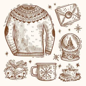 手描きクリスマス要素パック
