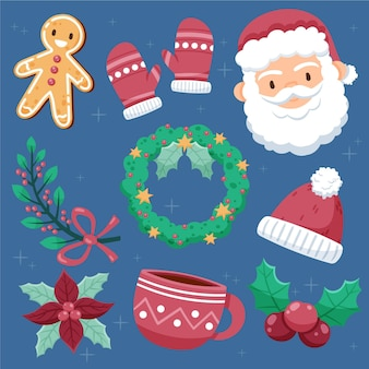 Hand drawn christmas element pack