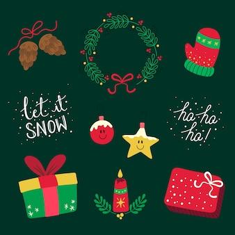 Набор рисованной рождественских элементов