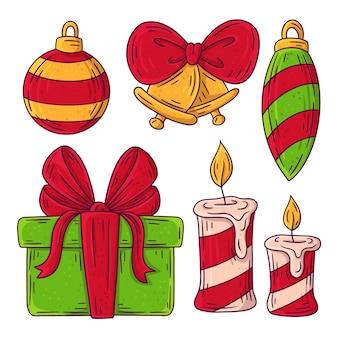 Набор рисованной рождественский элемент