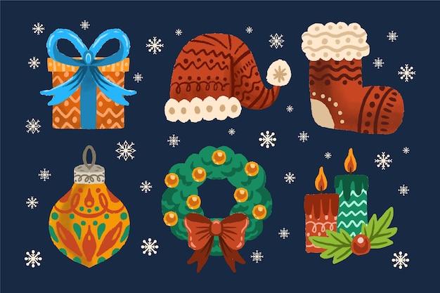 手描きのクリスマス要素パック