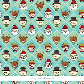 Hand drawn christmas elements pattern