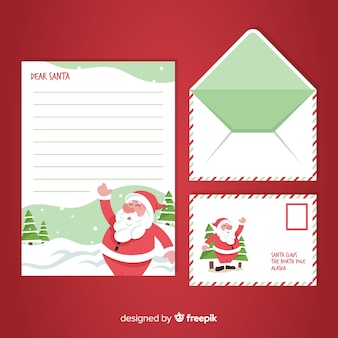Hand drawn christmas envelope and letter concept