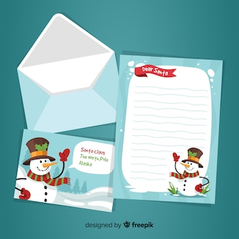 Hand drawn christmas envelope and letter design