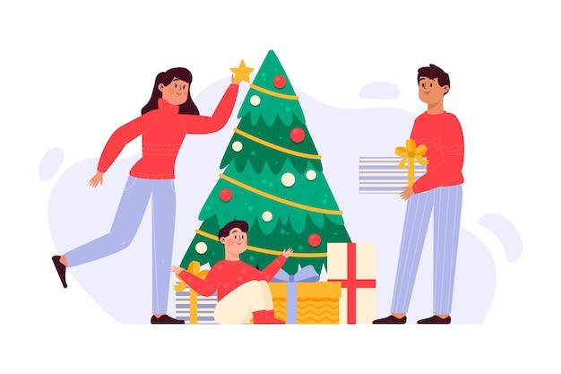 Нарисованная рукой иллюстрация семьи рождества