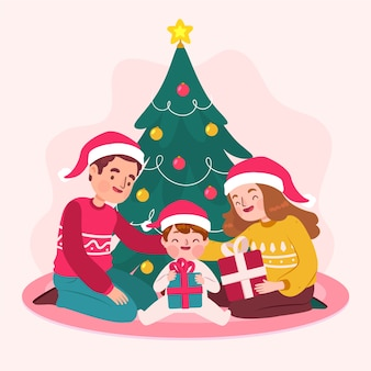 Hand drawn christmas family scene concept