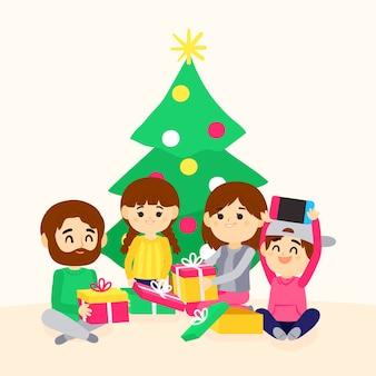 손으로 그린 크리스마스 가족 장면