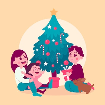 Hand drawn christmas family scene