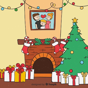 Hand drawn christmas fireplace full of presents illustration