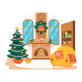 Hand drawn christmas fireplace scene illustrated