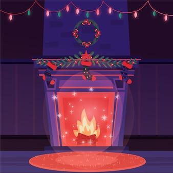 手描きクリスマス暖炉シーンイラスト