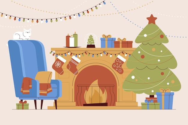 Нарисованная рукой иллюстрация сцены рождественского камина