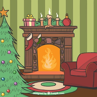 Hand Drawn Christmas Fireplace Scene With A Christmas Tree