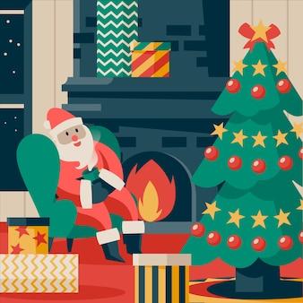 手描きクリスマス暖炉シーン