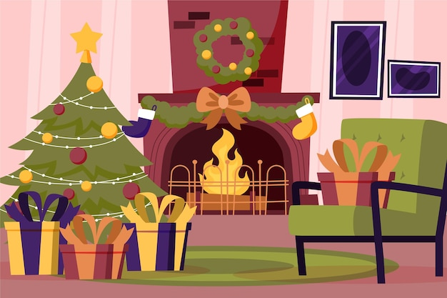 手描きのクリスマス暖炉のシーン
