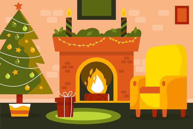 手描きのクリスマスの暖炉のシーン