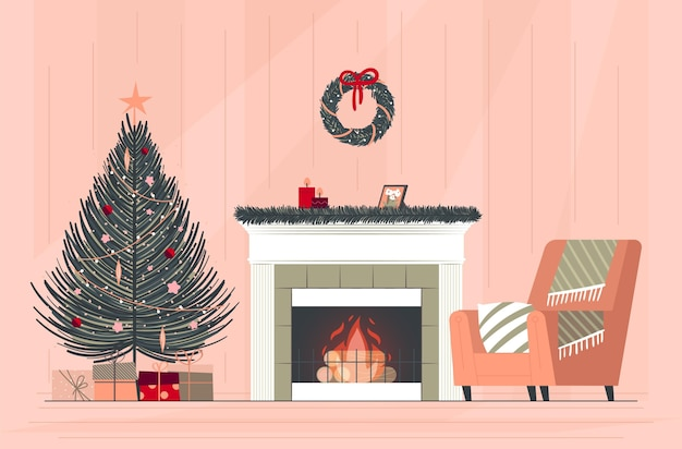 Hand drawn christmas fireplace scene