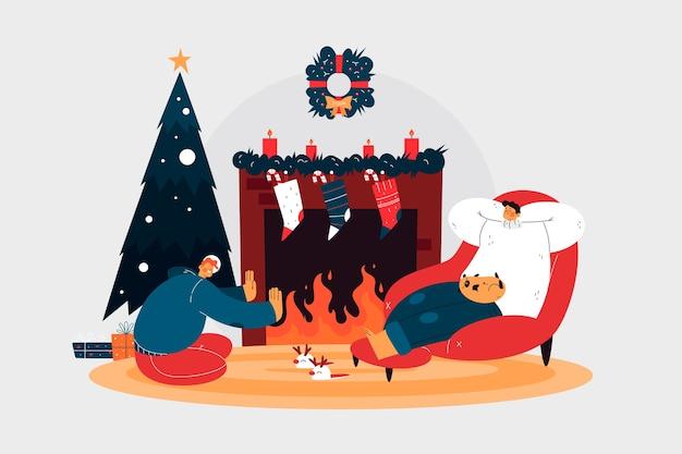 Hand drawn christmas fireplace scene