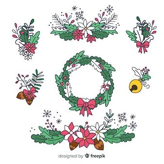 Ghirlande floreali di natale disegnato a mano
