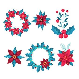 手描きのクリスマスの花と花輪のコレクション