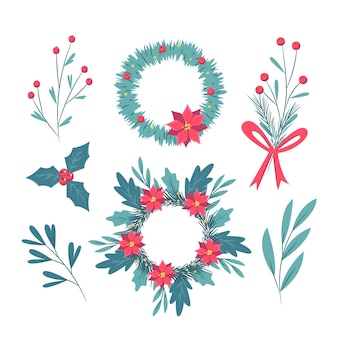 손으로 그린 크리스마스 꽃과 화 환 컬렉션