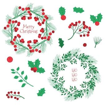 Коллекция рисованной рождественских цветов и венков